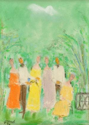 "Mario Grandi . ""La Fiesta"" . pastel sobre papel . 23 x 18 cm . 1970"