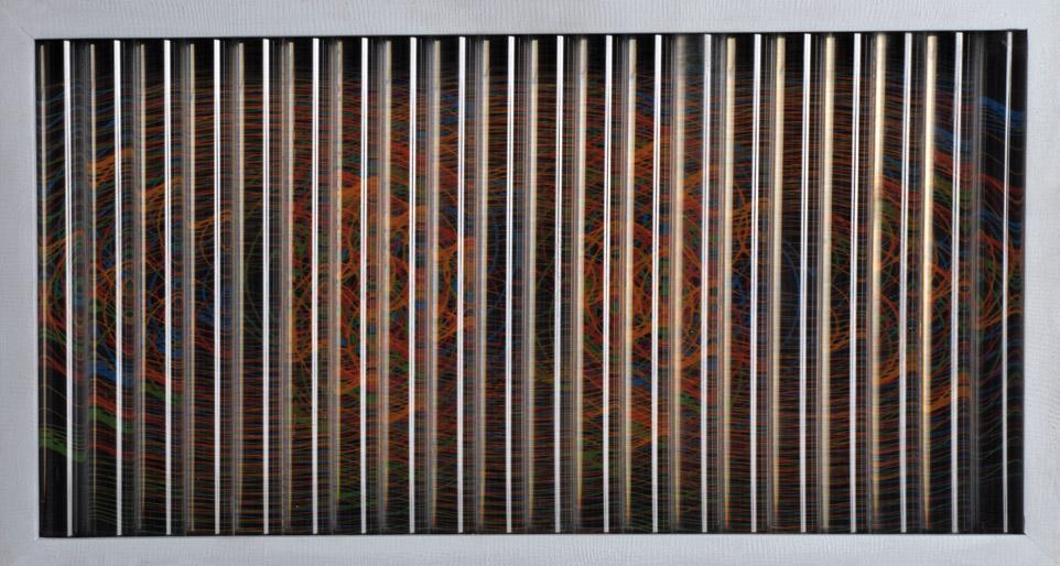 """""""Desplazamiento de una Forma"""" . acrílico y madera . 29x54cm . 2012"""
