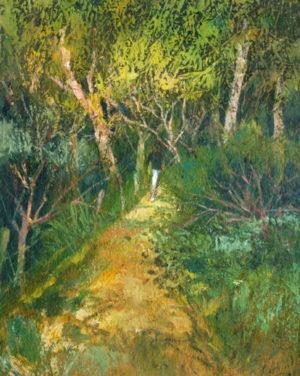 """Carlos Alonso . """"Mi Jardín, Unquillo"""" . óleo sobre aglomerado . 100 x 80 cm . 2000"""
