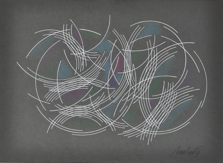 """""""Desplazamiento de Curvas"""" . lápiz color y acrílico sobre papel . 33x46cm . 1970"""