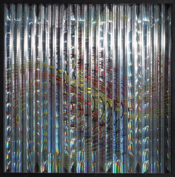 """""""Luz y Color en Movimiento"""" . acrílico y madera . 63x63x6cm . 1995/2008"""