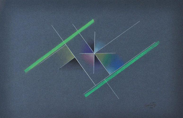 """""""Cosntrucción con Rectas"""" . acrílico y pastel sobre papel . 31x48cm . 1990"""