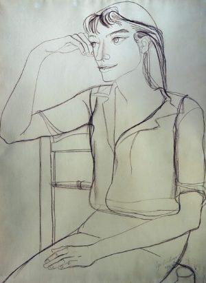 Figura . carbonilla sobre papel . 100x70cm . 1956