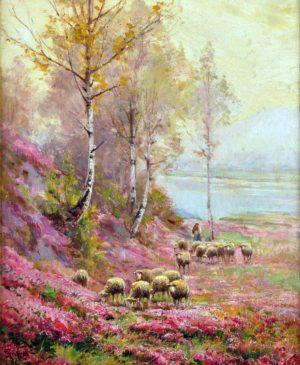 Rebaño en el Paisaje . óleo sobre lienzo . 50x40cm . 1890