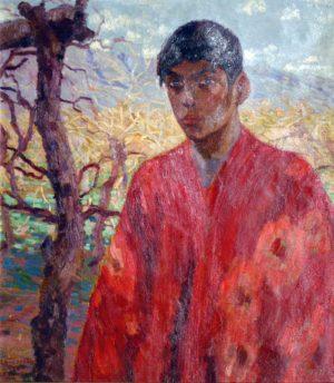 El Poncho Rojo . óleo sobre lienzo . 78x69cm . 1924