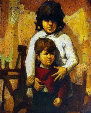 Hermanos . óleo sobre lienzo . 99x74cm . 1966