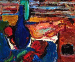 Botellón Azul . óleo sobre cartón . 50x60cm . 1968