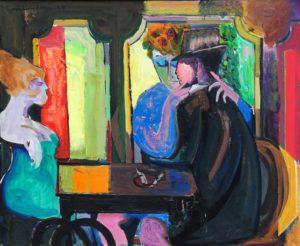 Pareja en el Café . óleo sobre lienzo . 60x73cm . 1977