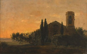 La Ermita . óleo sobre cartón . 37x57cm . 1970
