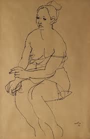 Posando . tinta sobre papel . 34x22cm . 1947
