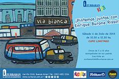 El artista Enrique Burone Risso será quién comparta junto a los chicos el próximo evento de Zurbarán kids para pintar con ellos y pasar un momento agradable.
