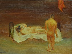 La Visita . óleo sobre cartón . 22x28cm . 1939