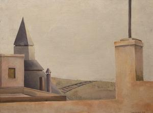 La Estación . óleo sobre lienzo . 35x45cm . 1979