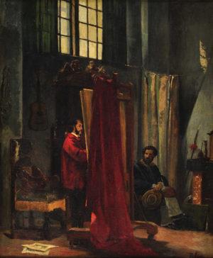 El Pintor en su Taller . óleo sobre lienzo . 65x54cm . 1859
