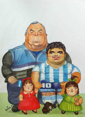 Maradona a la Botero . técnica mixta sobre papel . 46x33cm