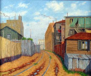 Tarde en el Callejón . óleo sobre lienzo . 50x60cm . 1946