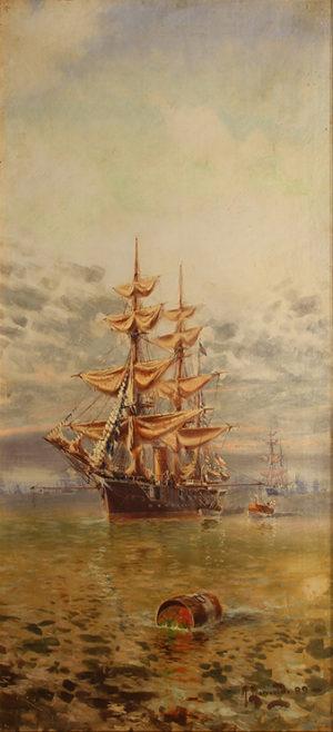 Fragatas . óleo sobre lienzo . 110x50cm . 1899