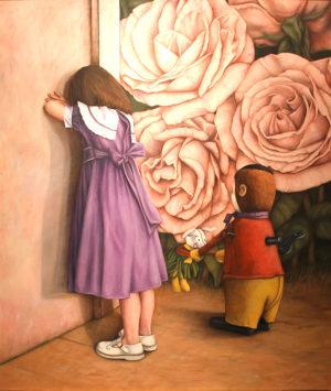 Jugando a las Escondidas . óleo sobre lienz 150x130cm . 1994