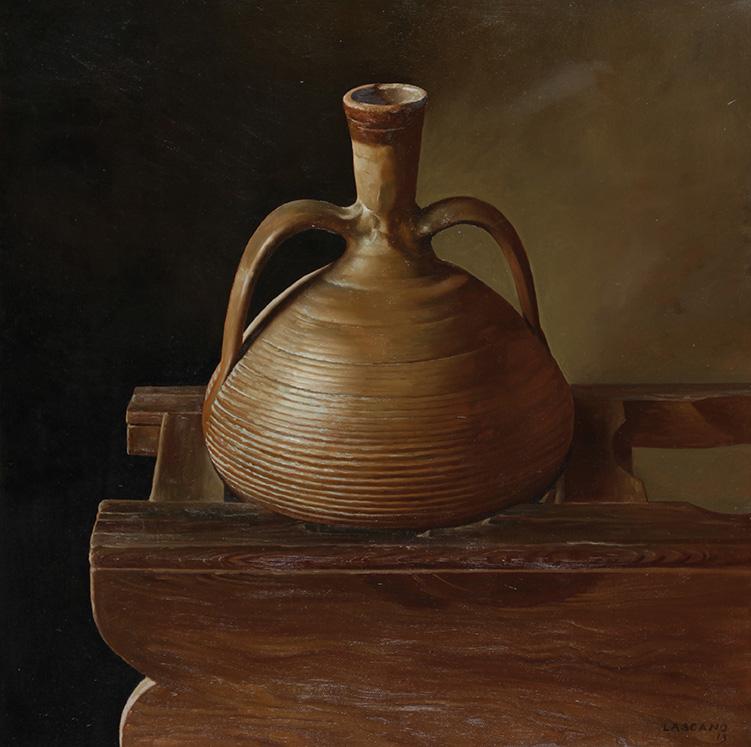 El realista Juan Lascano se inició en la pintura realizando un Bodegón, inspirada por artistas españoles como Velázquez y Zurbarán como principales referentes.