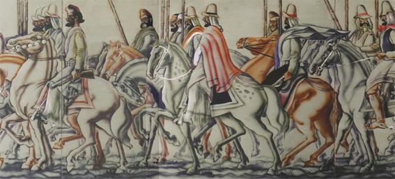 "Julio Vanzo ""Jinetes a Caballo"", témpera sobre cartón, 120x360 cm, 1937"