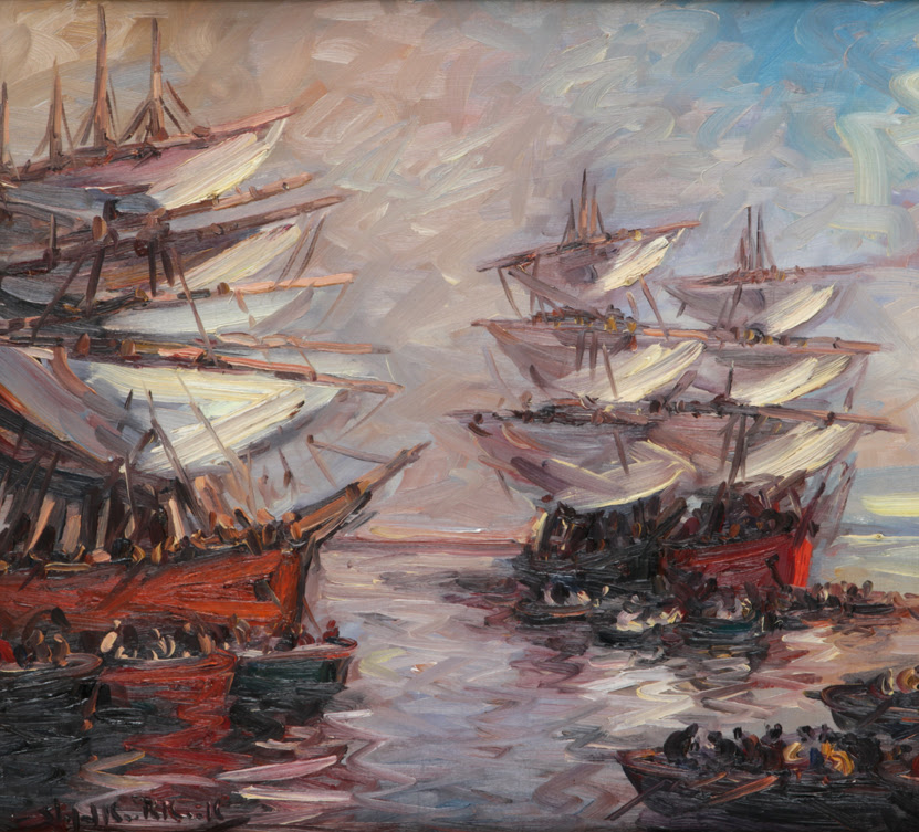 Gracias a su trazo, todo lo que se encuentra en la pintura pareciera cobrar vida, cómo si pudiésemos seguir el curso que llevan las embarcaciones presentes.