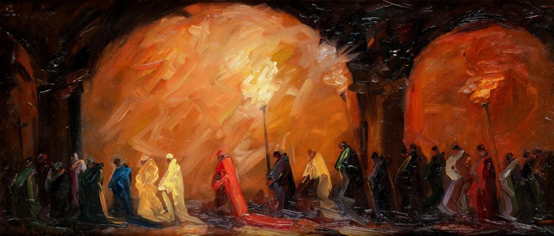 Durante la muestra que estamos exhibiendo en Zurbarán podrá dar con sus principales temáticas, entre ellas las procesiones que son sus obras más buscadas.