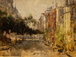 """Oscar Vaz . """"Calle de Barrio"""" . óleo sobre cartón . 20x26cm . 1956"""
