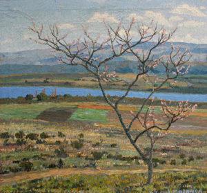 "José Malanca . ""Primavera en Villa Rumipal"" . óleo sobre lienzo . 80x85cm . 1947"