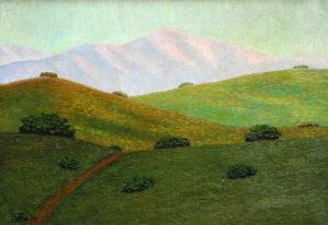 """Fray Guillermo Butler . """"Sierras Doradas"""" . óleo sobre cartón . 35x50cm . 1956"""