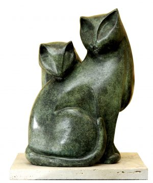 """Gatos"". Bronce. 31x18x18 cm. 2016"