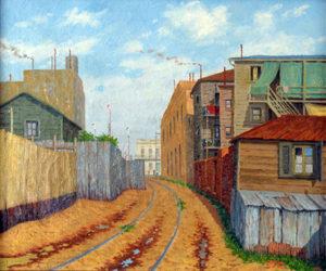 """Luis Ferrini. """"Tarde en el Callejón, Caminito"""". Óleo sobre lienzo. 50x60cm. 1946"""