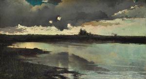 """Decoroso Bonifanti. """"La Laguna de Chascomús"""". Óleo sobre lienzo. 72x130cm. 1890c"""