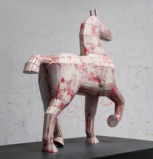 Fuego y Plata, Madera pintada, 66x60x18cm, 2016.