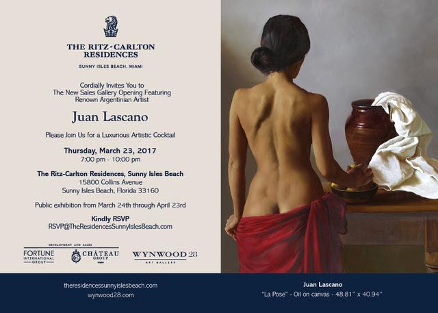 El realista Juan Lascano llega a Estados Unidos para exhibir alguna de sus creaciones realizadas entre 1992 y 2015. La muestra estará compuesta principalmente por dos de sus temáticas más aclamadas: bodegones y desnudos, que dejan en evidencia sus destacado oficio.
