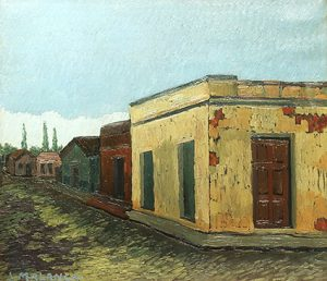 Calle de Pueblo . óleo sobre lienzo . 59x66cm . 1950