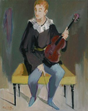 Raúl Soldi . Violinista de Orquesta . óleo sobre lienzo . 100x70cm . 1981