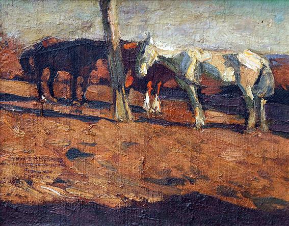 """""""Mancarrones"""" es una pintura realizada por el genio de Fernando Fader durante 1906. Mancarrones es la forma de nombrar, dentro del campo argentino, a los caballos viejos o lesionados que no sirven para el trabajo."""