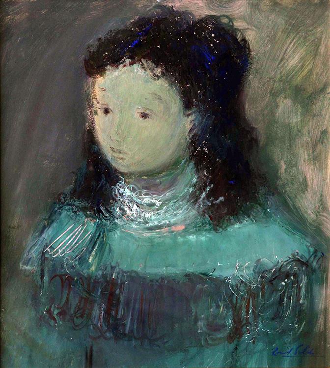 """La figura femenina fue una de las temáticas preferidas de Raúl Soldi, siendo ellas un sello único e inconfundible. La figura es algo personal en él, puesto que en realidad nunca pinto mujeres; pintaba ángeles """"soldianos"""", personajes de él."""