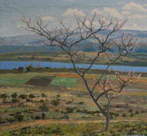 "José Malanca . ""Primavera en Villa Rumipal"" . óleo sobre lienzo . 80 x 85 cm . 1947"