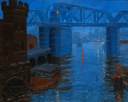 Osvaldo Imperiale . Nocturno en el Puente . óleo sobre lienzo . 80x100cm . 1936
