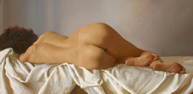 "Juan Lascano . ""Desnudo"" . óleo sobre lienzo . 70 x 140 cm . 2007"