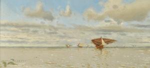"Manuel Larravide . ""Pesqueros"" . óleo sobre cartón . 30 x 60 cm . 1899"