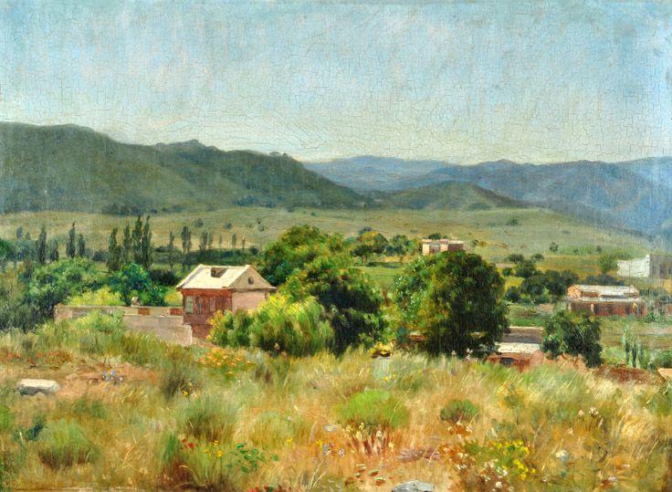 """Eduardo Sívori . """"Paisaje de Francia"""" . óleo sobre cartón . 25 x 34 cm . 1910"""