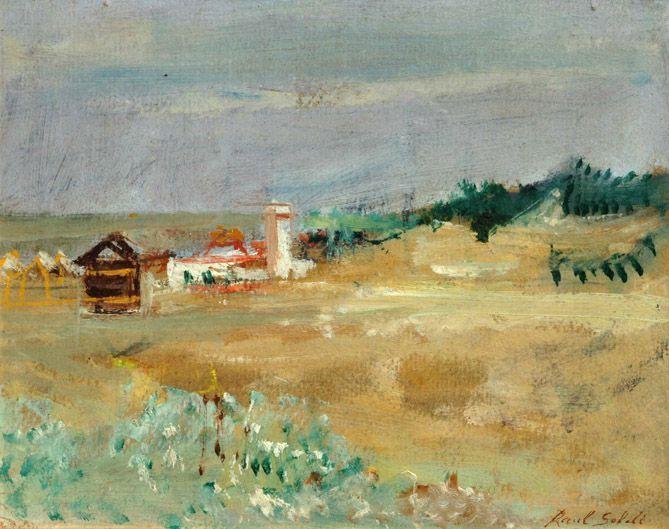 """Raúl Soldi . """"Las Termas de Río Hondo"""" . óleo sobre cartón . 18 x 23 cm . 1973"""