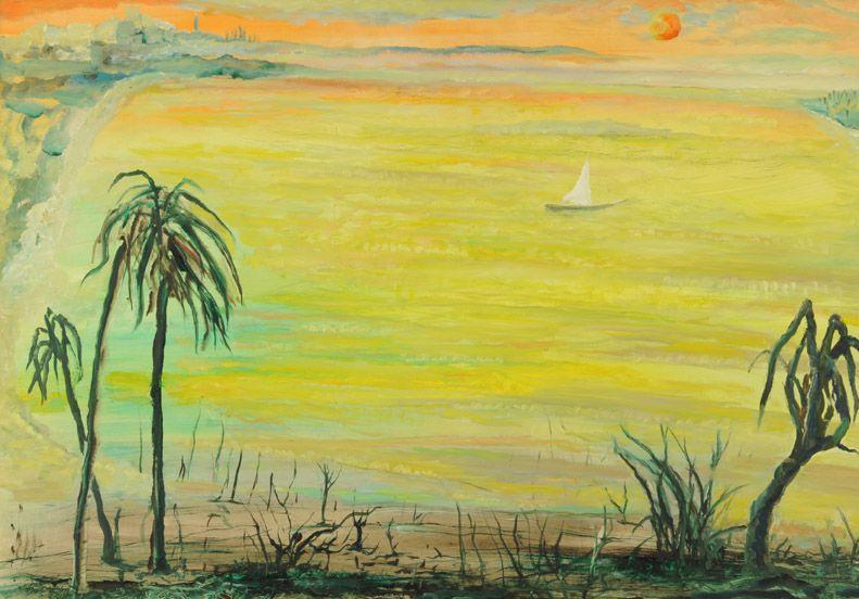 "Leopoldo Presas . ""Balneario"" . óleo sobre lienzo . 70 x 100 cm . 1994"