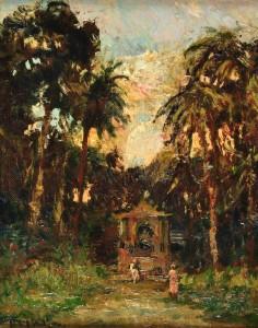 En el Parque . óleo sobre lienzo . 33x27cm . 1950