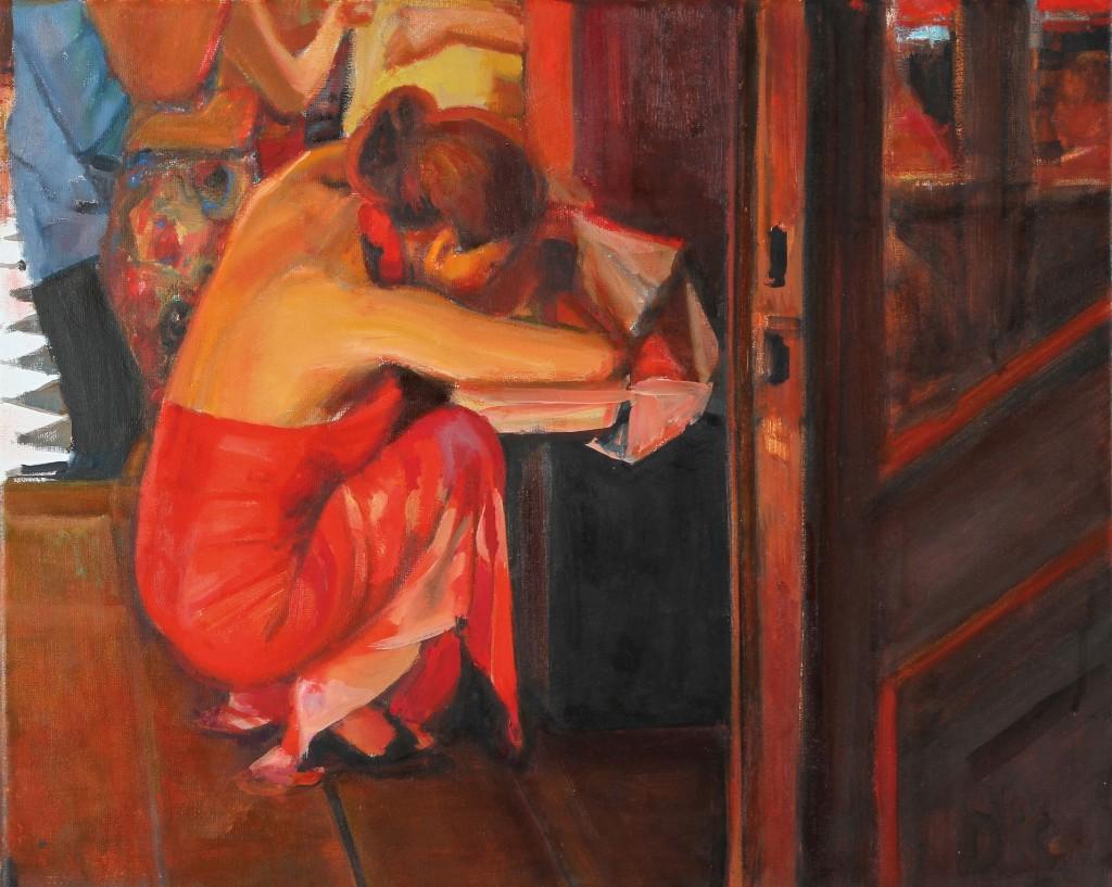 La Chica de Rojo . óleo sobre lienzo . 40x50cm . 2014