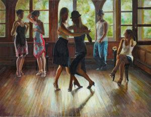 Mar del Plata Tango Club . óleo lienzo 97x206cm . 2014