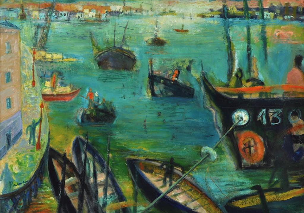 """""""Puerto"""" . óleo sobre cartón . 71 x 100 cm . 1994"""