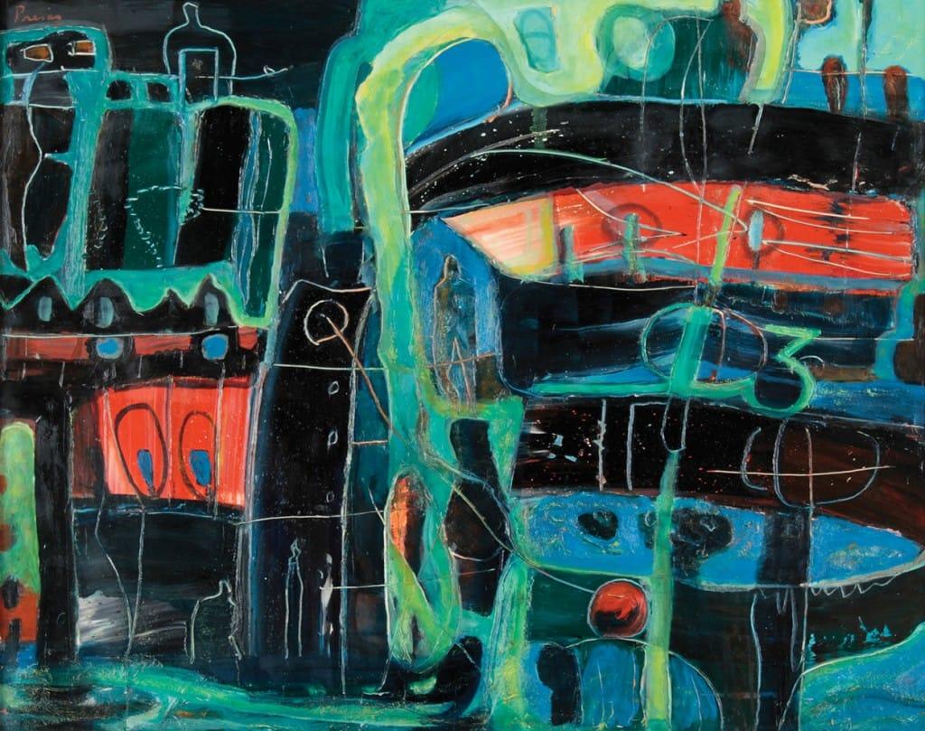 """Puerto"" . óleo sobre lienzo . 73 x 92 cm . 1982"